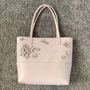Pale Pink Tote with Flower Embellishments EUC
